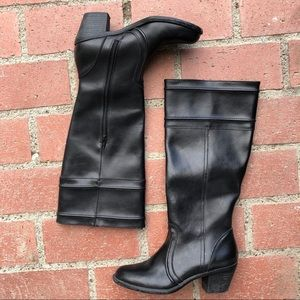 Black Leather Knee High Chunky Heel Boots